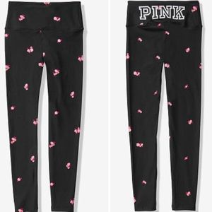 VS PINK BLACK WITH PINK FLORAL LEGGINGS XL.
